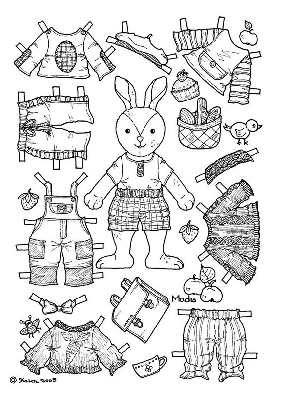 animal coloring pages doll place | Paperdolls | Poisson Jaune